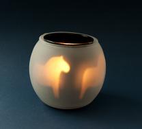 Ljuslykta Dalahäst i Glas